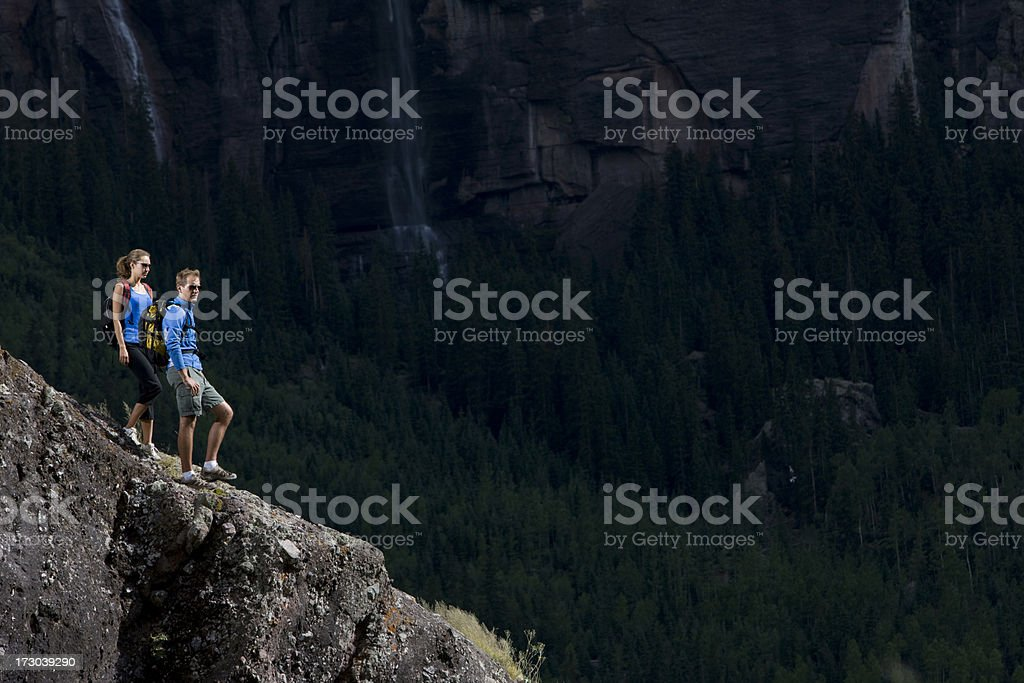 Hikers overlooking valley royalty-free stock photo