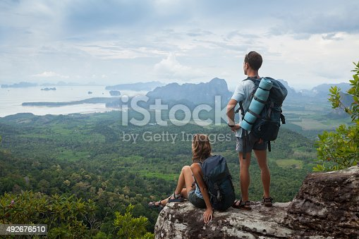 Couple of hikers relaxing on top of the mountain