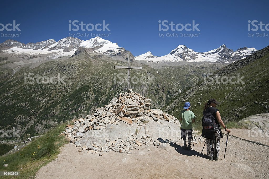 Hikers to cross dell'Arolley royalty-free stock photo