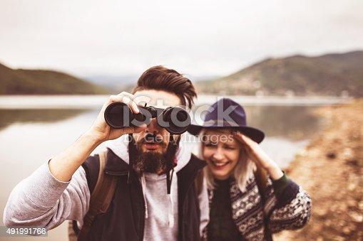 istock Hikers watching the view on the lake. 491991766