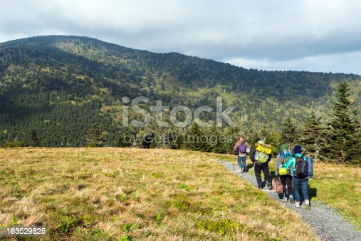 Hikers on Appalachian Trail at Roan Mountain