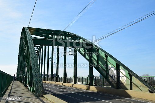 Belgrade, Serbia - March 11, 2019: Metal construction of the old arch bridge over the river Sava