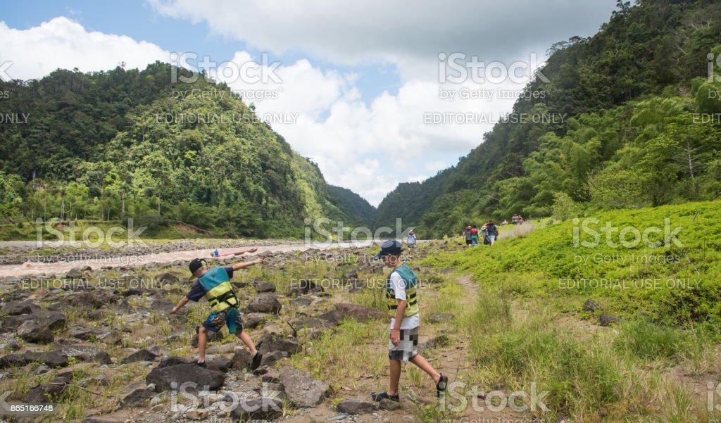 Hiking and Canoeing Fiji stock photo