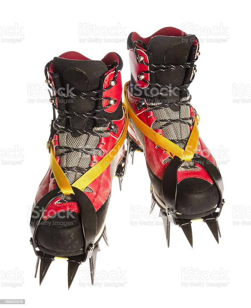 hiking and climbing boots with crampons royalty-free stock photo