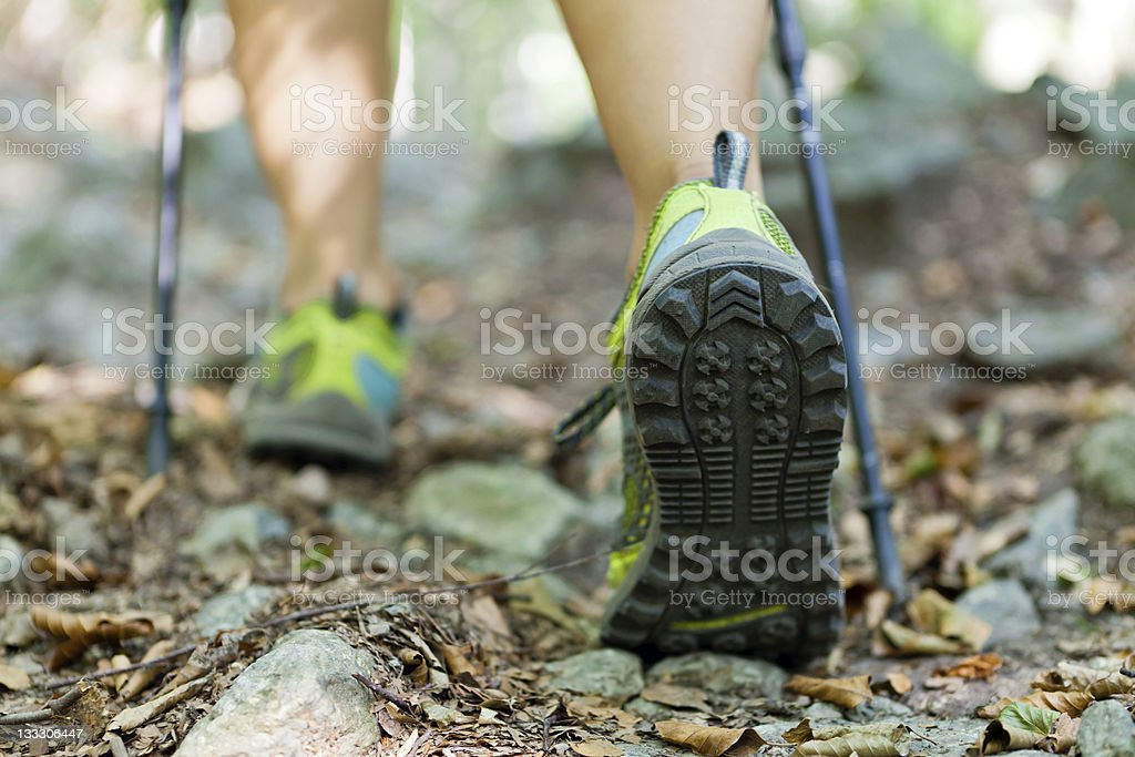 Hiking and walking foot in autumn forest trail Woman hiking and nordic walking in autumn forest. Active Lifestyle Stock Photo
