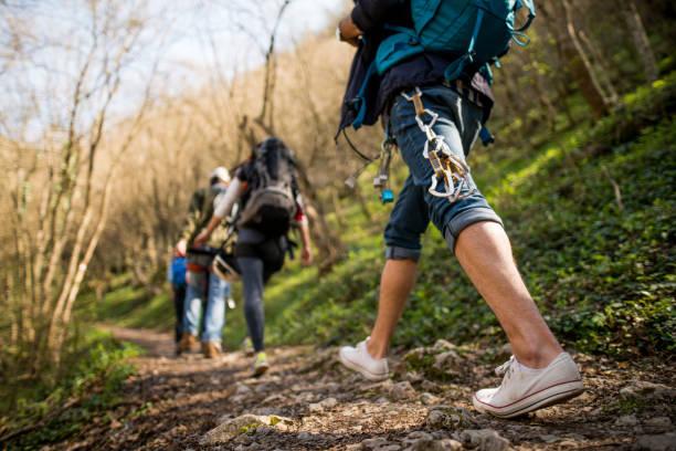 Hiking and walking stock photo