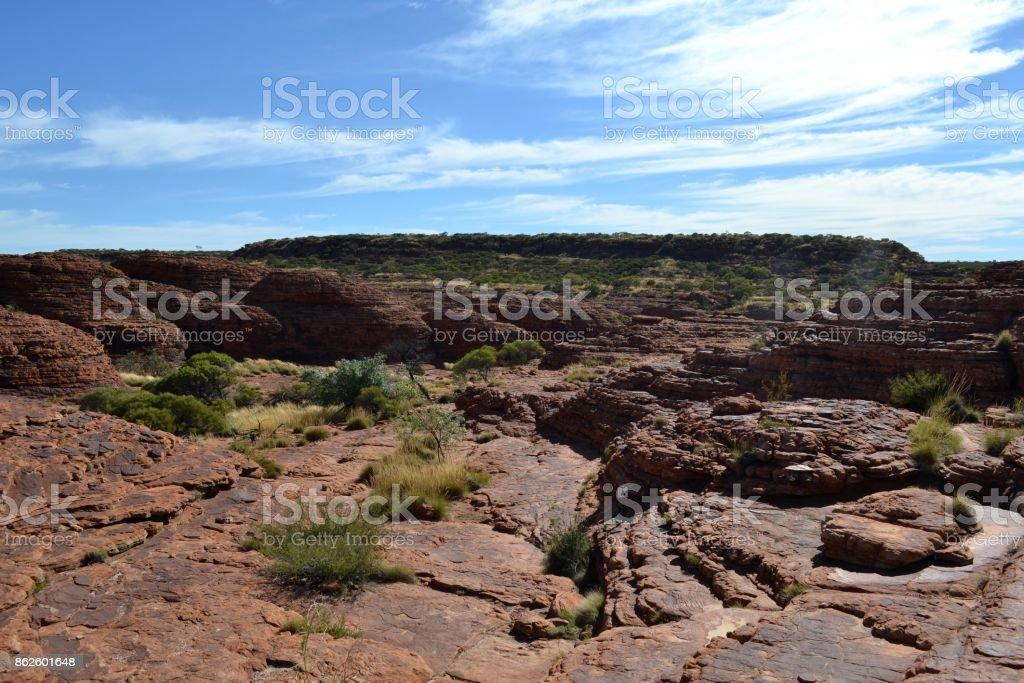 Hiking around Kings Canyon, around 2 hours by car from Uluru stock photo