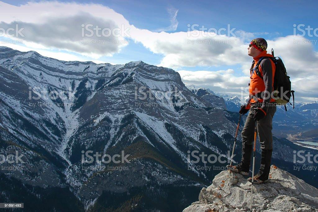 Hiking at the edge royalty-free stock photo