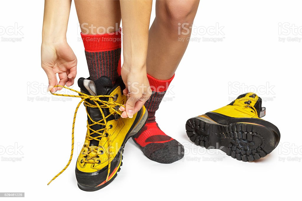 Hiking Boot and socks stock photo