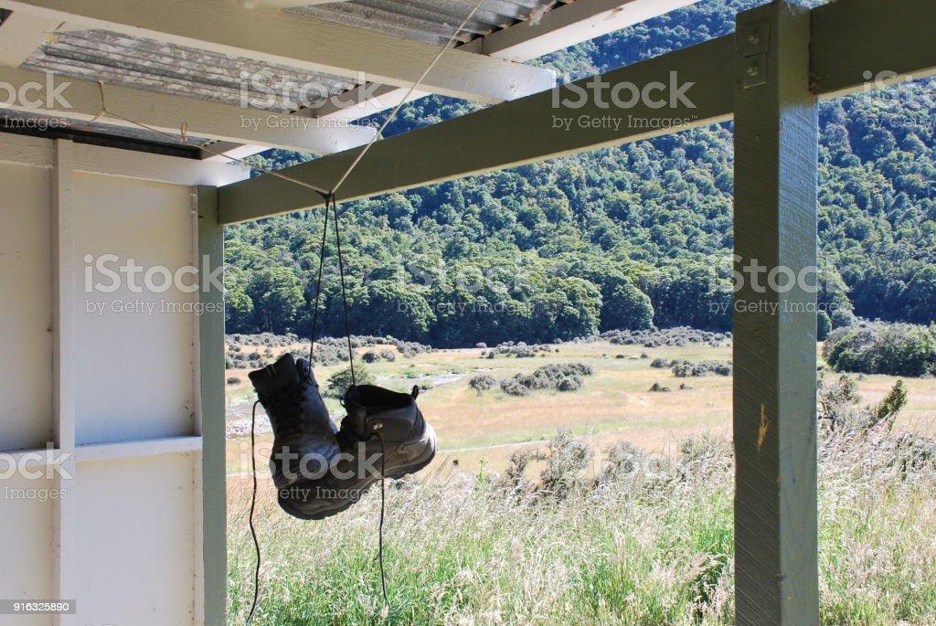 Hiking Boots Airing in Hut, Cobb Valley, Kahurangi National Park, New Zealand stock photo