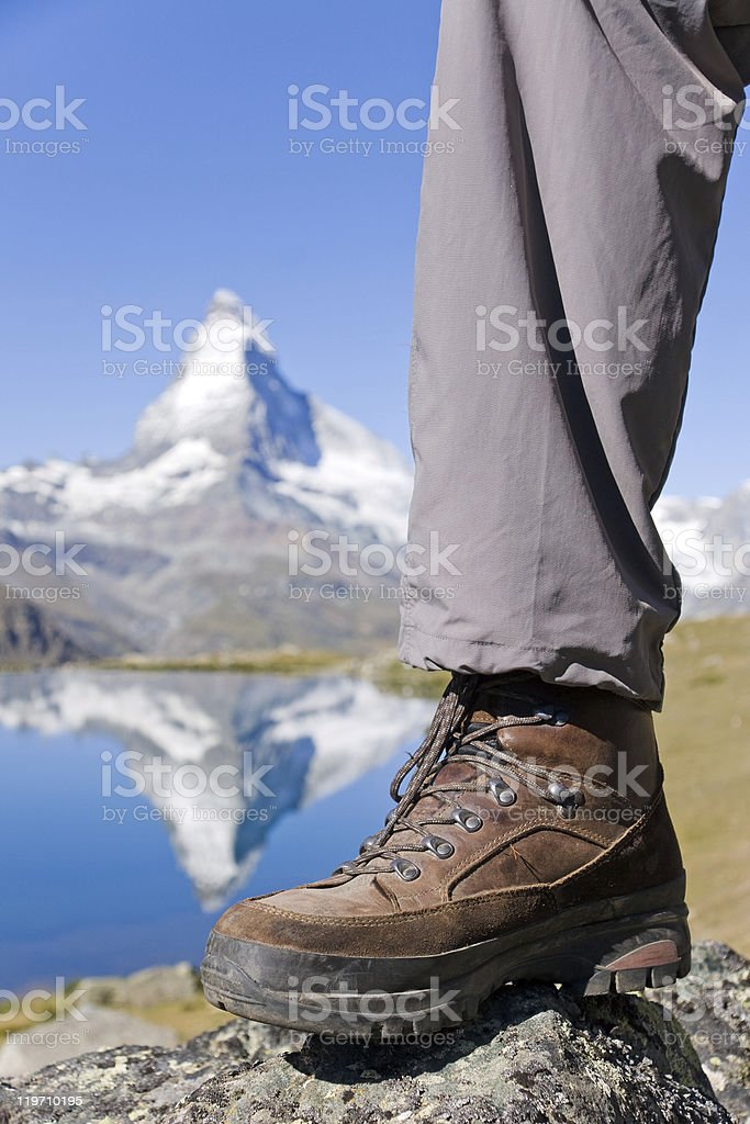 Hiking boots at the Matterhorn royalty-free stock photo