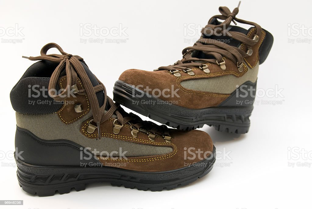 Hiking boots for trekking in mountain royalty-free stock photo