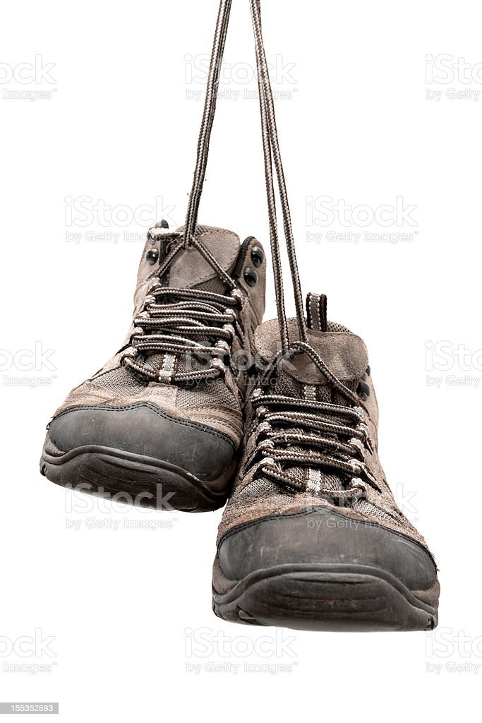 Hiking boots isolated on white background royalty-free stock photo