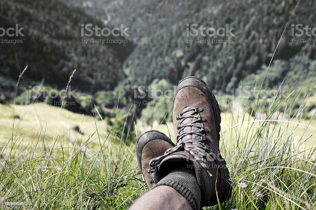 Hiking boots. Relax in hike. stock photo