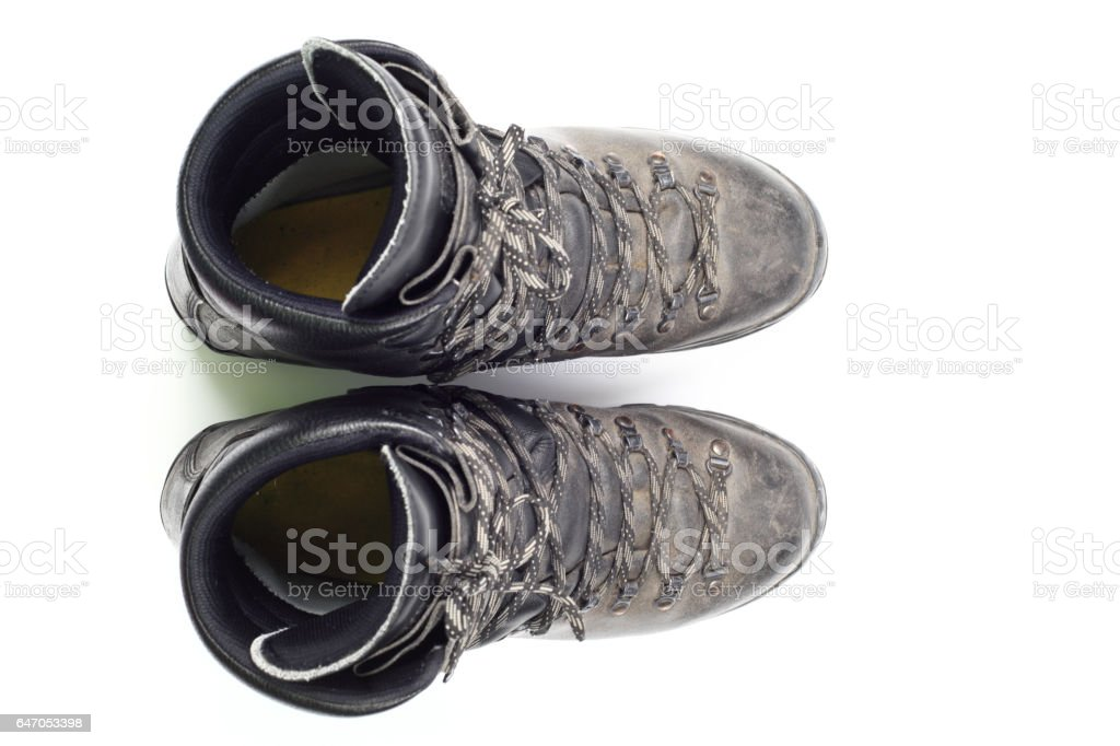 Hiking boots, top view stock photo