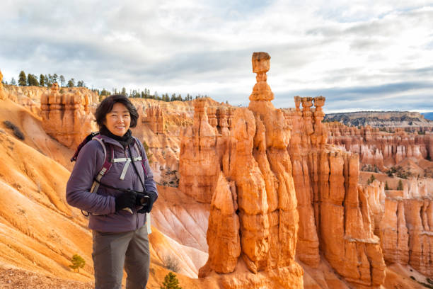 hiking Bryce Canyon National Park stock photo