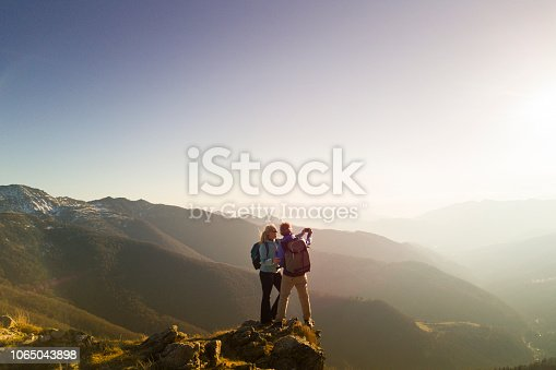 istock Hiking couple take selfie 1065043898