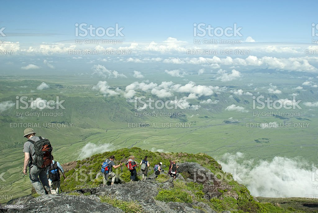 Hiking down from Ol Doinyo Lengai into the Rift Valley stock photo