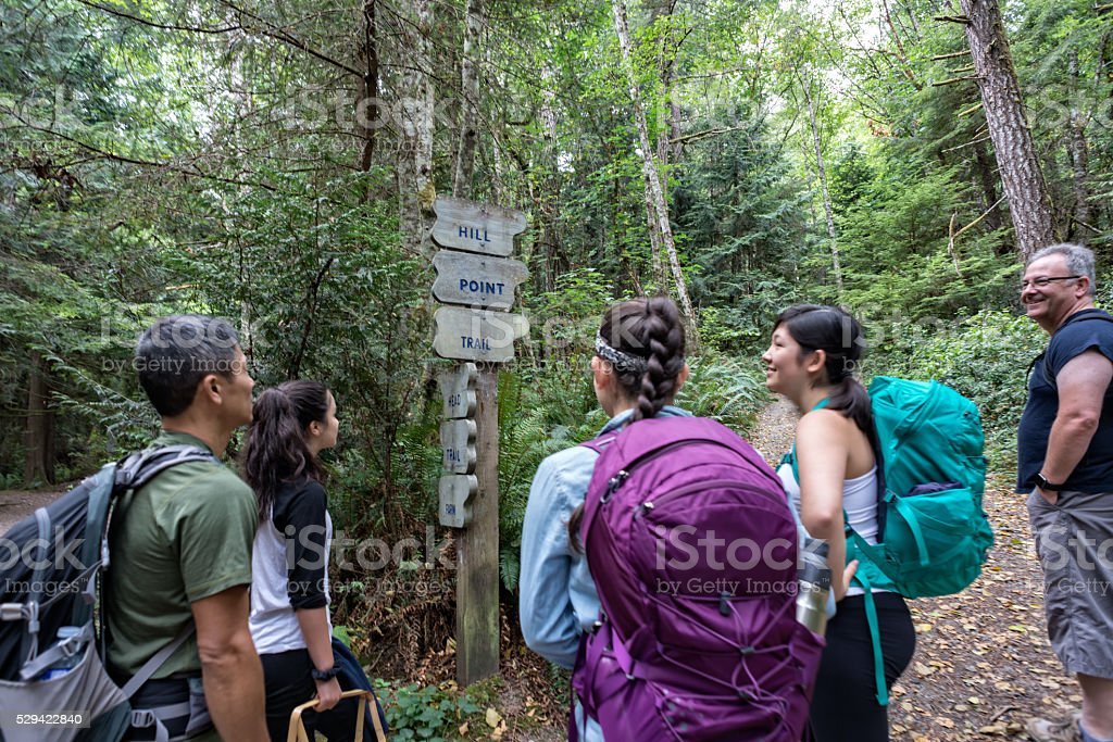 Hiking Family in Forest Stop to Look at Direction Signs stock photo
