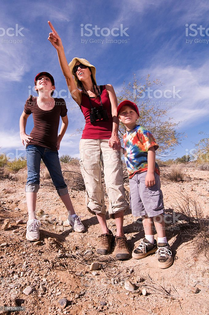 Hiking Family in the Desert royalty-free stock photo