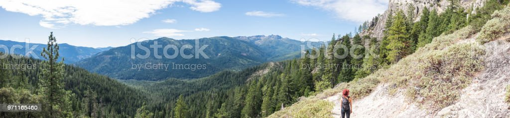 Hiking female - pacific northwest stock photo