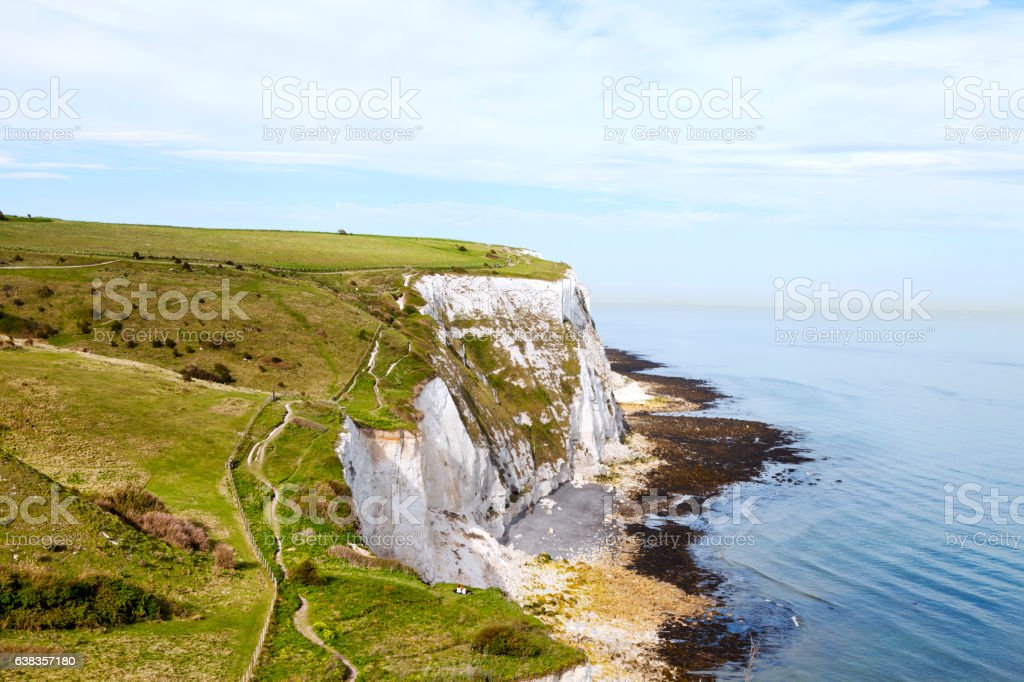 Hiking footpath along white cliffs of Dover stock photo