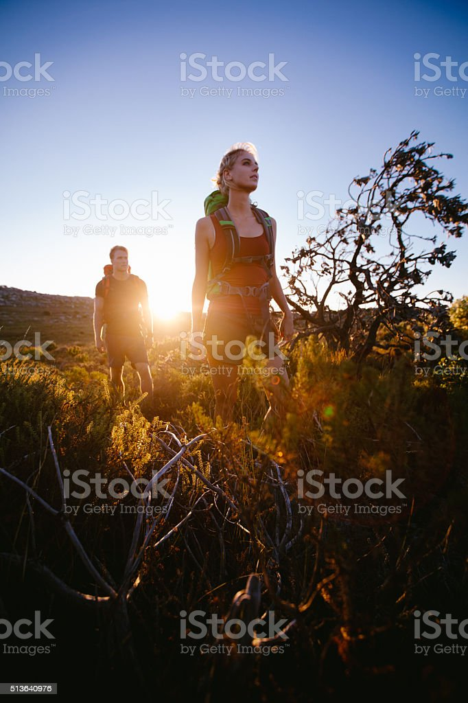 Hiking friends or couple trekking through nature in sunrise stock photo