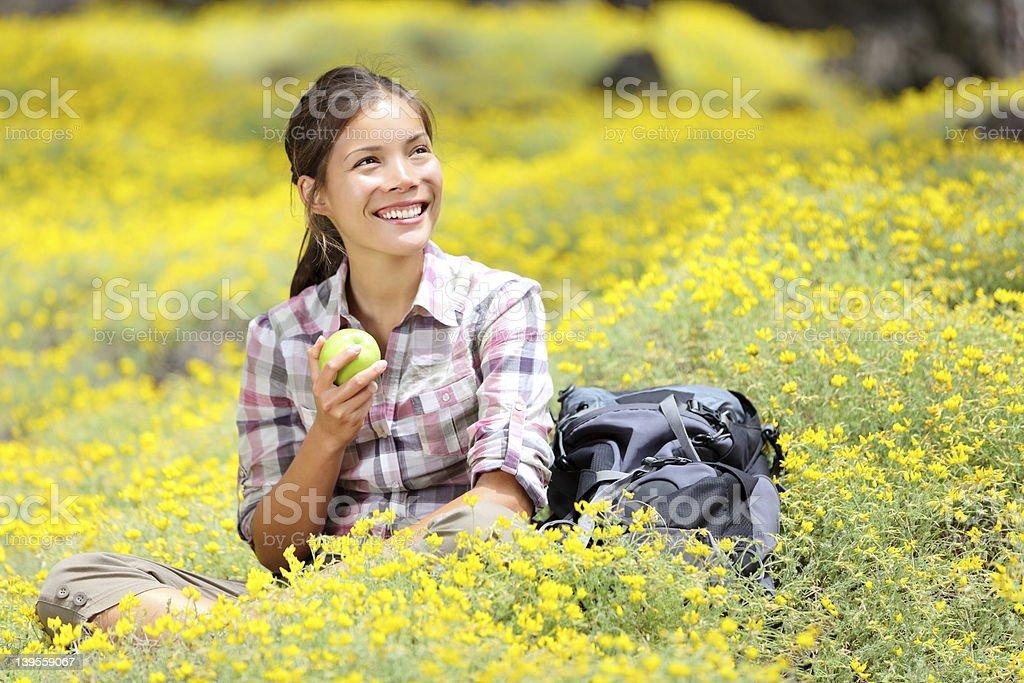 Hiking girl in spring stock photo