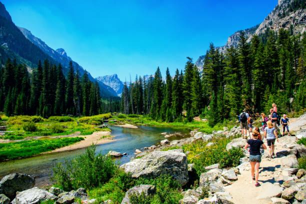 Hiking Grand Teton National Park stock photo