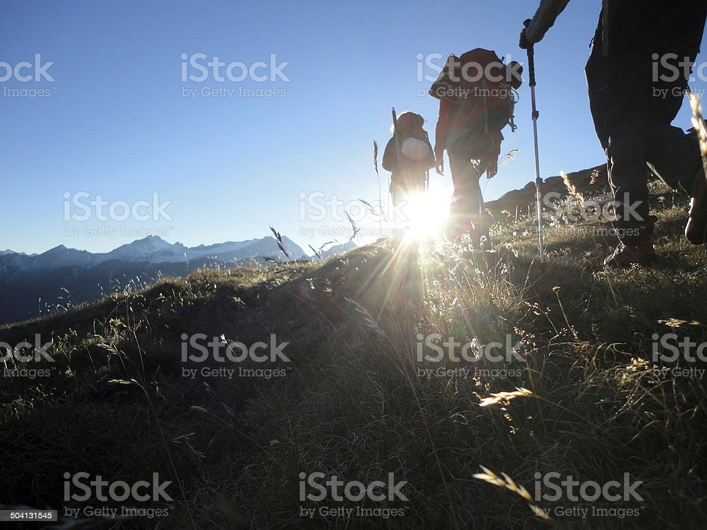 hiking group  in in the mountains stock photo