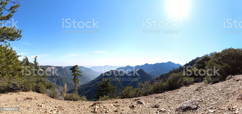 Hiking in Angeles National Forest - 67.57 MP stitched photo stock photo