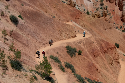 Bryce Canyon, Utah, USA - June, 9th 2010: Hikers hiking on a well groomed hiking path in the canyon