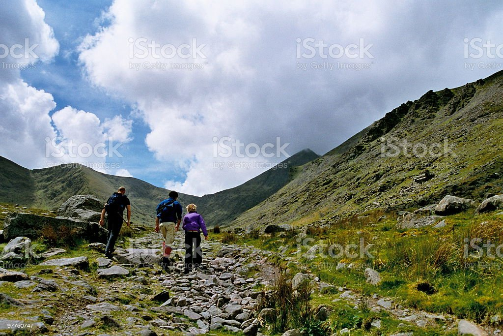 hiking in Carrauntoohil stock photo