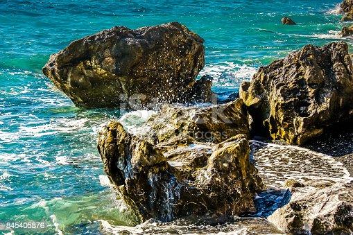 Detail of the Cretan wild sea coastline