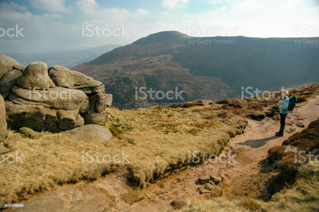 Hiking in Edale, England stock photo