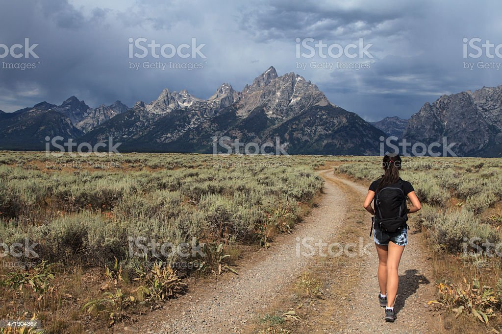 Hiking in Grand Teton National Park stock photo