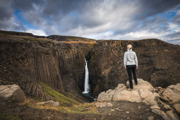 hiking in iceland - borchee stock pictures, royalty-free photos & images