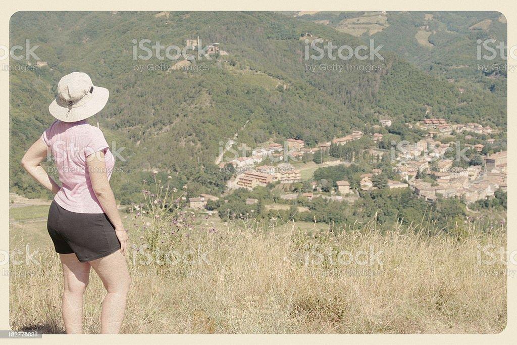 Hiking in Italian Foothills - Vintage Postcard stock photo