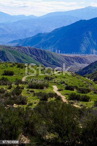 rolling hills and mountain Views from hiking trail in Whitewater River Canyon, California