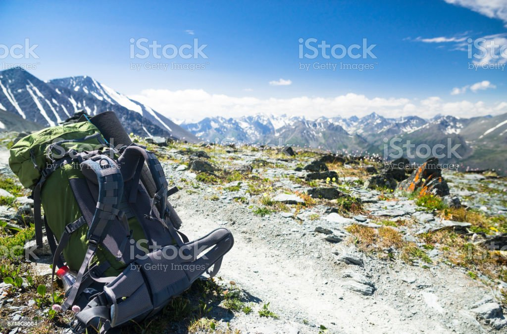 hiking in mountains stock photo