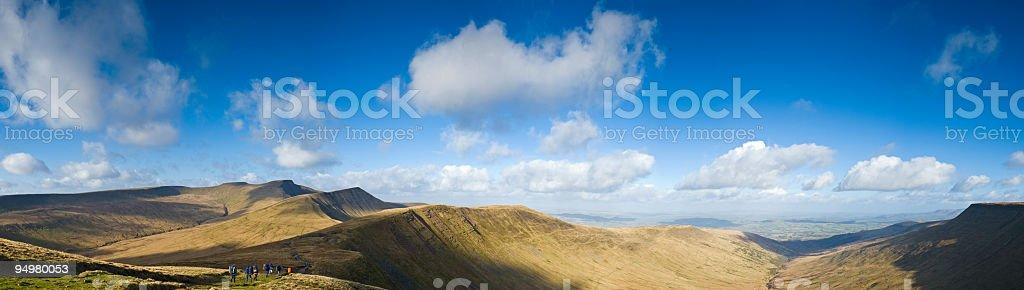 Hiking in panoramic wilderness stock photo