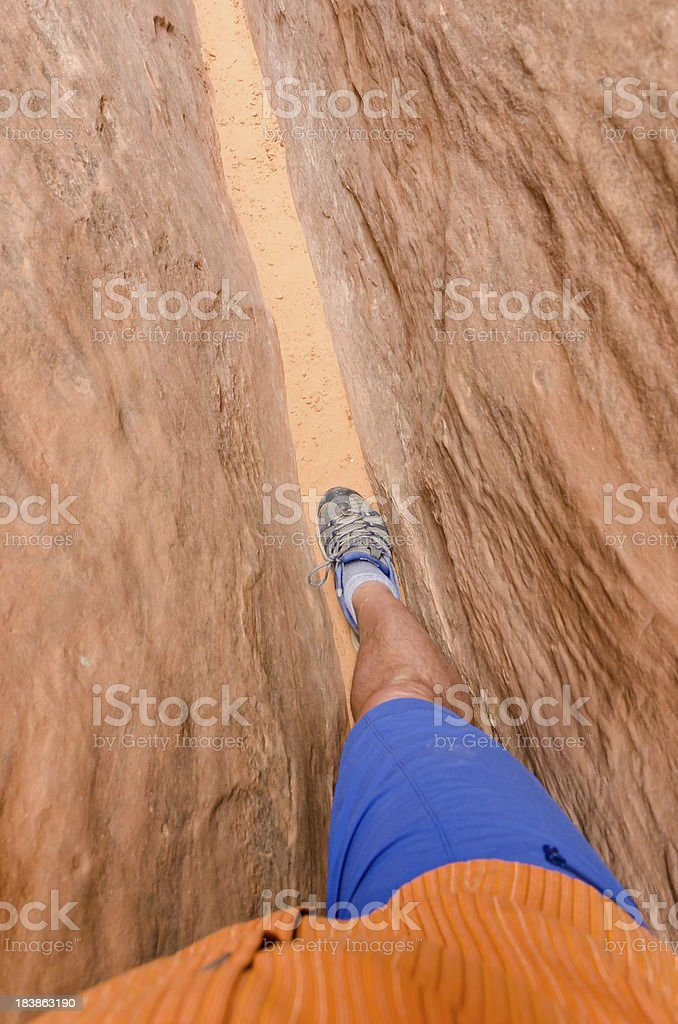 Hiking in Slot Canyon stock photo