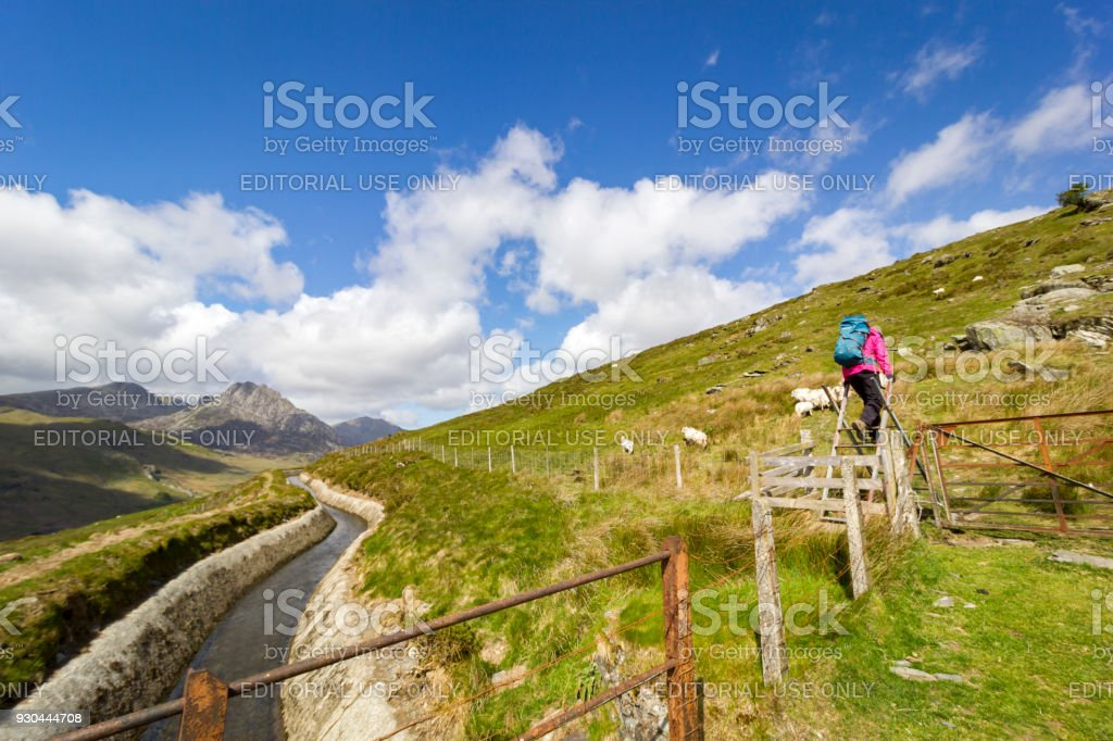 Hiking in Snowdonia National Park, Wales, UK. stock photo