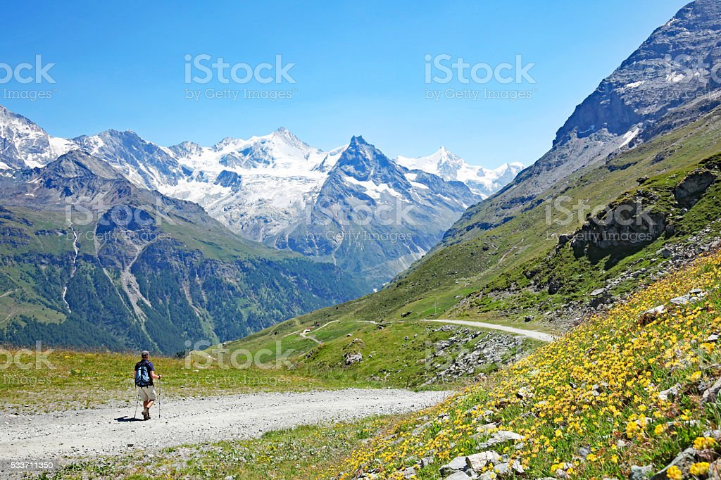 Hiking in Swiss Mountains in Summer stock photo