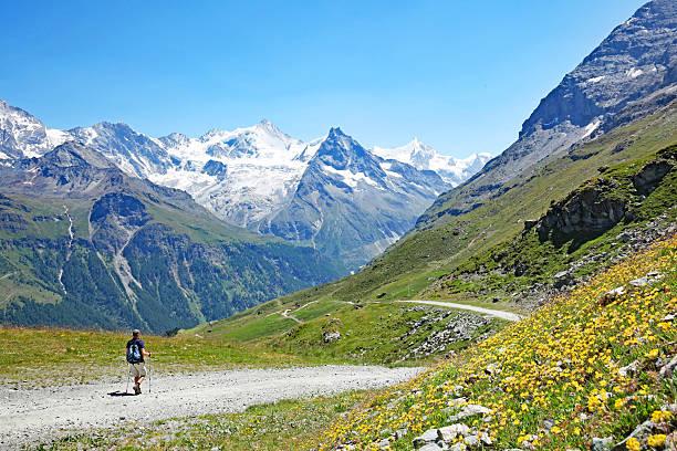 wandern in den schweizer bergen im sommer - kanton schweiz stock-fotos und bilder