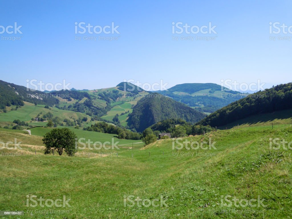 Hiking in Switzerland on a hot day in summer, Baselland stock photo