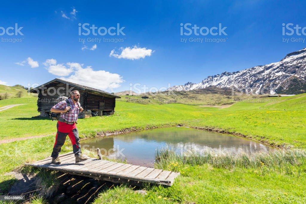 Hiking in the Alps, Alpe di Siusi - European Alps stock photo