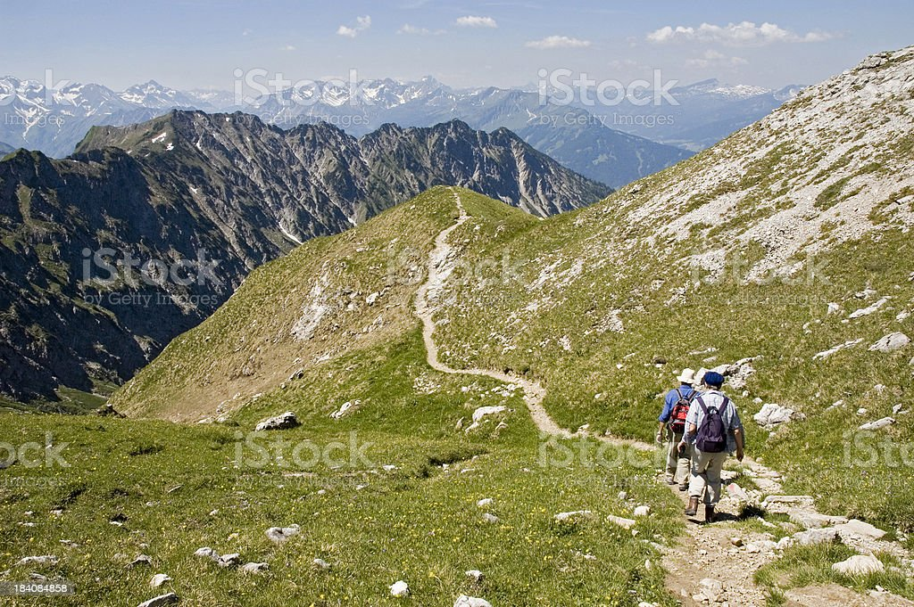 Hiking in the Alps stock photo