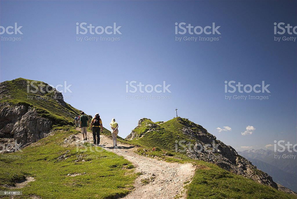 Hiking in the Alps royalty-free stock photo