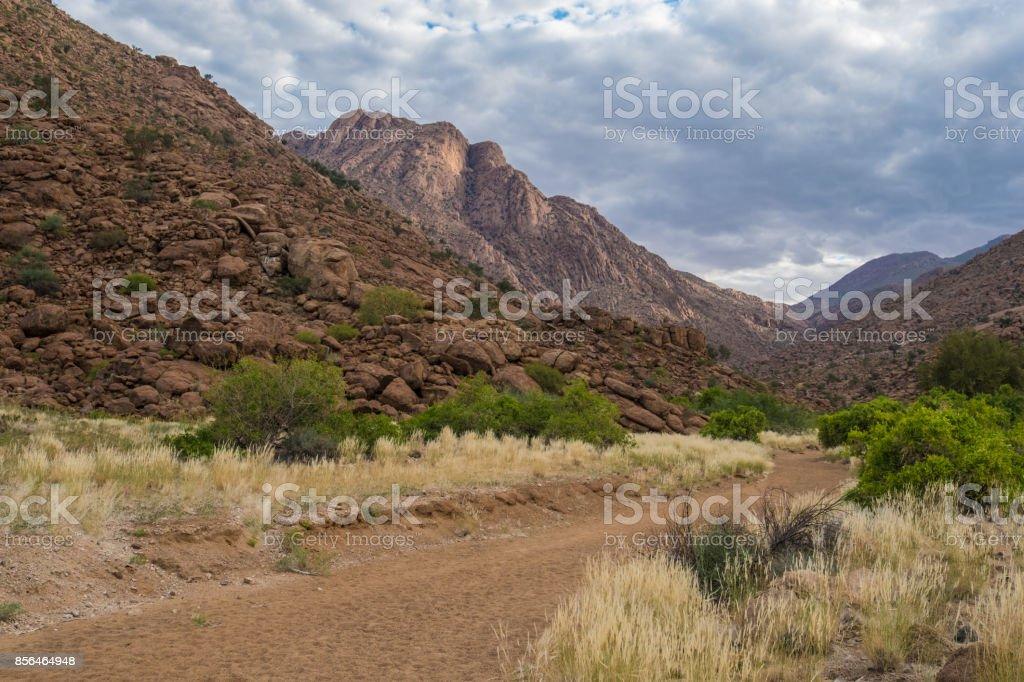 Hiking in the Brandberg massif to see bushmen paintings.  Damaraland (Erongo), Namib Desert, Namibia stock photo